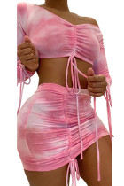 Pink Milk Silk Fashion Sexy adult Ma'am Print Two Piece Suits pencil Long Sleeve Two Pieces