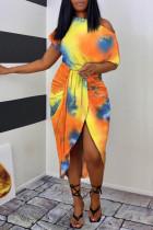 Orange Fashion Casual Print Tie Dye Asymmetrical Oblique Collar Short Sleeve Dress