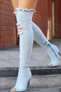 Sky Blue Fashion Sexy Make Old Pointed Shoes