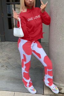 Red Casual Print Letter Hooded Collar Long Sleeve Two Pieces