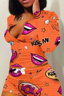 Orange Polyester Fashion adult Ma'am Sweet O Neck Print Two Piece Suits Pattern Plus Size