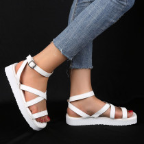 White Fashion Casual Round Out Door Leather Shoes