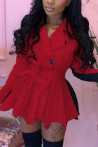 Red British Style Polyester Solid Split Joint Turn-back Collar Long Sleeve Mini Long Sleeve Dress Dresses