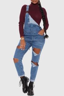 Dark Blue Fashion Casual Solid Ripped Spaghetti Strap Sleeveless High Waist Regular Jumpsuit