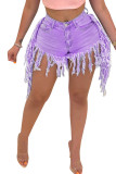 rose red Black Blue Yellow Light Blue rose red purple Denim Zipper Fly Mid Solid Tassel Old Straight shorts Bottoms