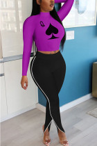 purple Polyester Fashion adult Ma'am OL Print Two Piece Suits pencil Long Sleeve Two Pieces