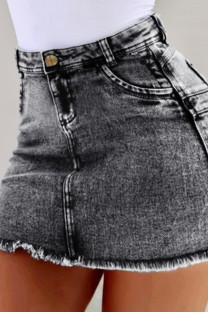 Grey Denim Zipper Fly High Solid washing Old Hip skirt Bottoms