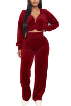 Red Casual Polyester Flocking Solid Pants Zipper Collar Long Sleeve Regular Sleeve Short Two Pieces