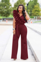 Wine Red Polyester Drawstring Sleeveless High Solid ruffle Straight Pants Jumpsuits & Rompers