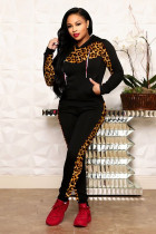 Black Polyester adult Casual Fashion Print Camouflage Patchwork Two Piece Suits Leopard pencil Long Sleeve