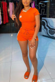 Orange Fashion Casual adult Ma'am Letter Two Piece Suits Straight Short Sleeve Two Pieces