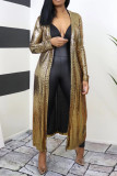Gold Fashion Casual Solid Cardigan Outerwear