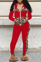 Red Fashion Casual Print Split Joint Zipper Collar Long Sleeve Two Pieces