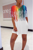 White Polyester Fashion Sexy adult Patchwork Print Two Piece Suits pencil Short Sleeve Two Pieces