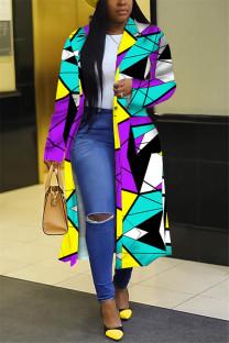 Purplish Blue Fashion Casual Turndown Collar Long Sleeve Regular Sleeve Print Coats