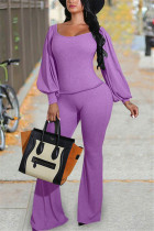 purple Fashion Casual Solid Basic O Neck Long Sleeve Two Pieces