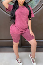 Pink Polyester Fashion Casual Solid Two Piece Suits Straight Short Sleeve Two Pieces