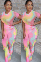 Pink Milk Silk Fashion adult Ma'am Street Patchwork Print Two Piece Suits Straight Short Sleeve Two Pieces
