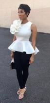 White Fashion Sleeveless Floral Regular Blouses & Shirts