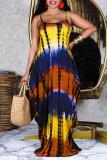 Multicolor Sexy Casual Print Tie Dye Backless Spaghetti Strap Sleeveless Dress