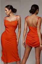 Orange Polyester Fashion Sexy Spaghetti Strap Sleeveless Slip Slim Dress Mid-Calf bandage asymmetrical Drap