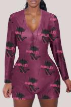 fuchsia Fashion Adult Living Print V Neck Skinny Jumpsuits