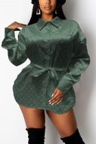 Light Green Fashion Casual Print Basic Turndown Collar Tops