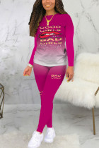 rose red Sexy Print Long Sleeve Two Pieces