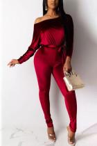 Red Fashion Print Bateau Neck Jumpsuits