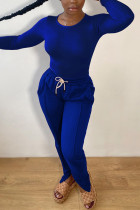 Blue Fashion Casual Solid Basic O Neck Long Sleeve Two Pieces