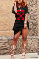 Black Polyester Fashion Casual Black Blue Yellow Light Green Cap Sleeve O neck Step Skirt Knee-Length Print Dresses