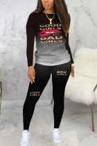Black Sexy Print Long Sleeve Two Pieces