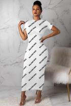 White Polyester Casual Fashion adult Cap Sleeve Short Sleeves O neck Step Skirt Ankle-Length Patchwork Pri