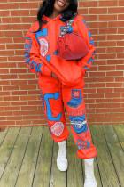Orange Fashion Casual Adult Print Split Joint Hooded Collar Long Sleeve Regular Sleeve Regular Two Pieces