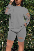 Grey Street Cute Solid Split Joint O Neck Long Sleeve Two Pieces
