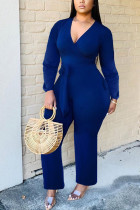 Blue Fashion Sexy Solid Polyester Long Sleeve V Neck Jumpsuits