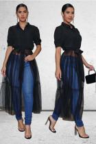 Black Polyester cardigan Half Sleeve Patchwork Solid Mesh Tops