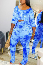 Dark Blue Polyester Fashion Casual O Neck Tie Dye Plus Size