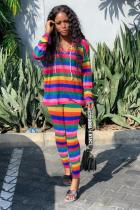 Rainbow color Polyester Active Striped pencil Long Sleeve Two-piece Pants Set