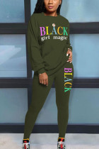 Army Green Casual Polyester Solid Letter O Neck Long Sleeve Regular Sleeve Two Pieces