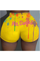 Yellow Polyester Elastic Fly Mid Print Skinny shorts Bottoms