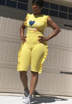 Yellow Polyester Patchwork Fashion sexy Jumpsuits & Rompers