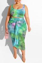 Green Polyester Sexy Slip Print Belt Tie Dye Plus Size