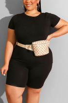 Black Fashion Casual Adult Polyester Solid O Neck Plus Size
