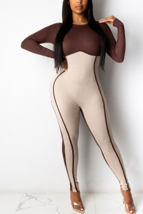 Deep Red Sexy Solid Split Joint O Neck Skinny Jumpsuits