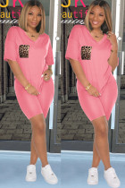 Pink Polyester Sexy Fashion Ma'am adult Leopard Two Piece Suits Patchwork Straight Short Sleeve Two-Piec
