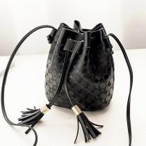 Black Fashion Casual Solid Tassel Design Crossbody Bag