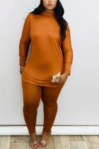 Khaki Fashion Daily Adult Milk Fiber Solid Split Joint O Neck Long Sleeve Regular Sleeve Regular Two Pieces