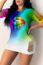 Colour Fashion Casual Lips Printed Hollowed Out O Neck Short Sleeve Dress