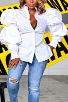 White Fashion Street Adult Polyester Solid Split Joint Mandarin Collar Tops